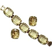 Huge Citrine Topaz Faceted Glass Bracelet Earrings