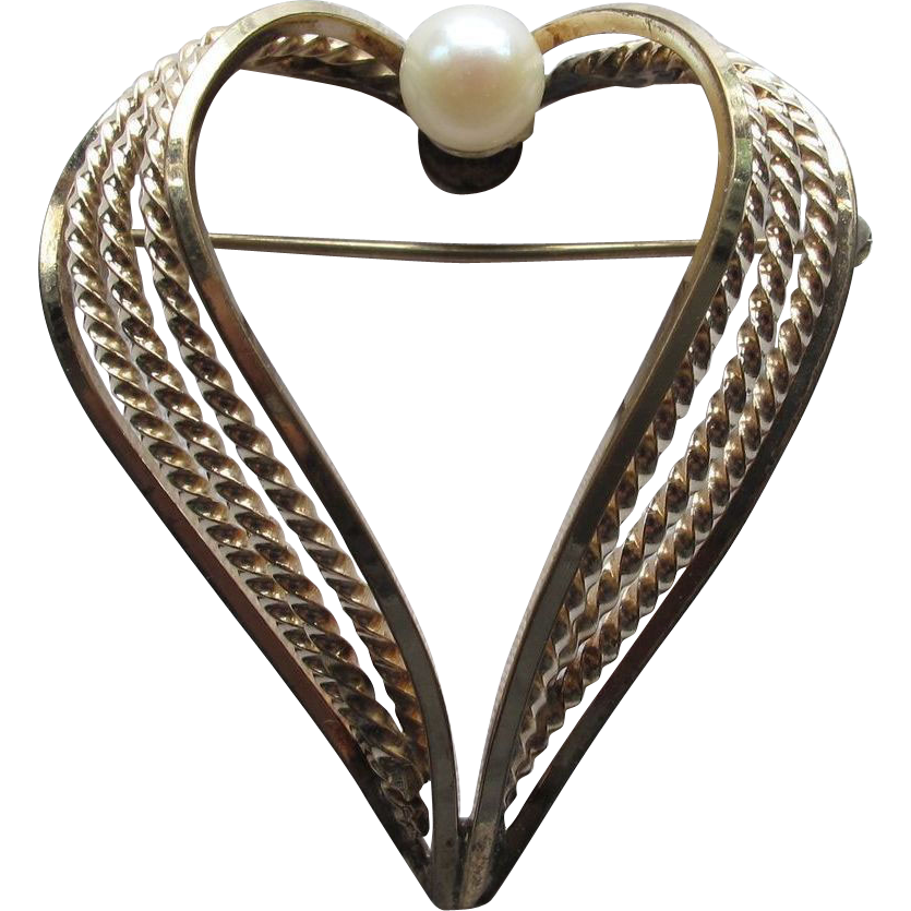 Alice Caviness Heart Pin Real Pearl