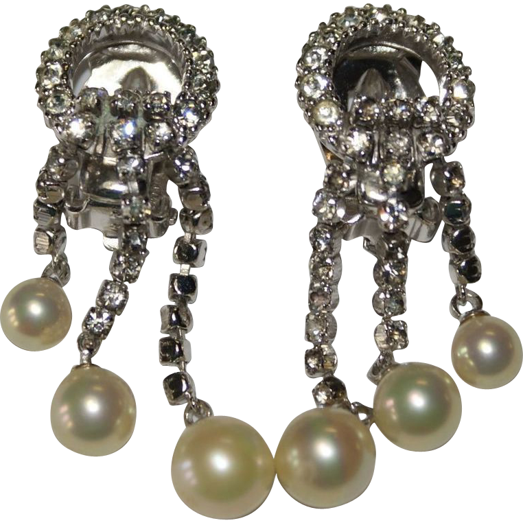 Ciner Faux Pearl Rhinestone Drop Chandelier Earrings Bridal