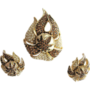 Avon of Belleville by Boucher Topaz Clear Rhinestone Pin Earring Set Rare