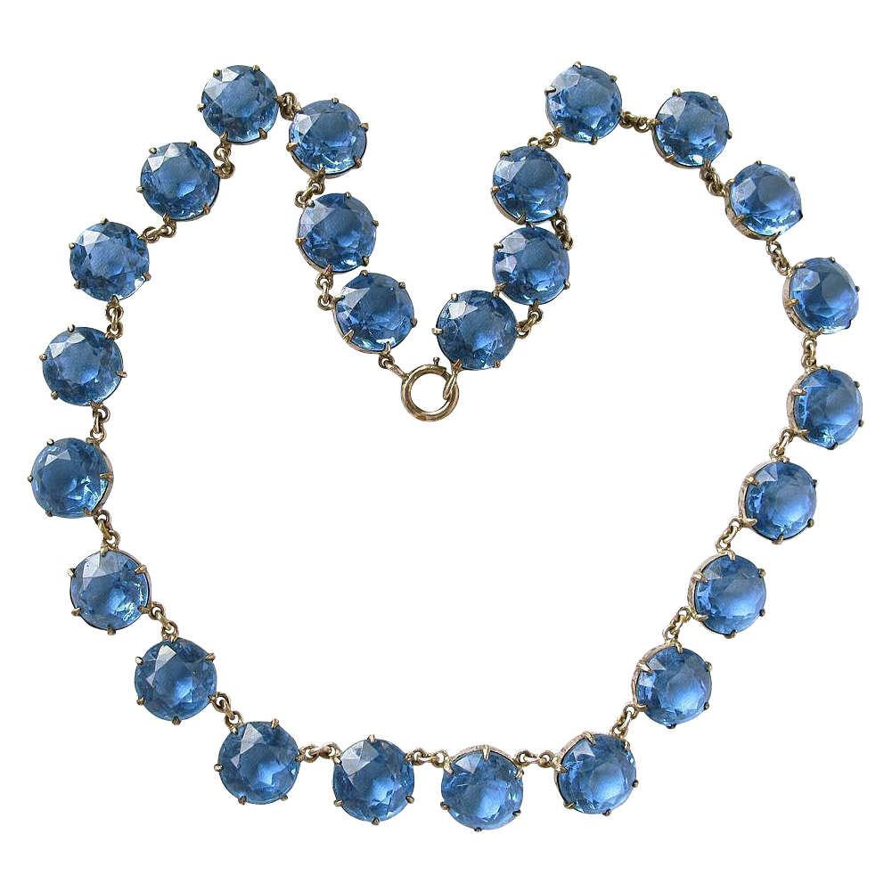 Blue Faceted Crystal Large Riviere Chiclet Necklace 1940