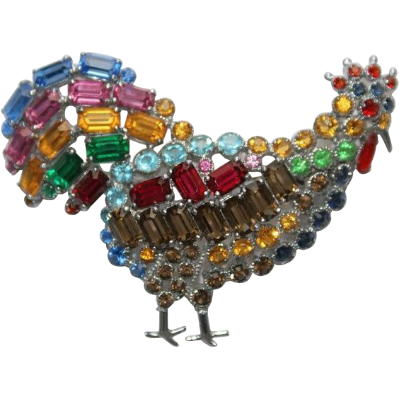 Rhinestone Rooster Pin Brooch Czech Colourful