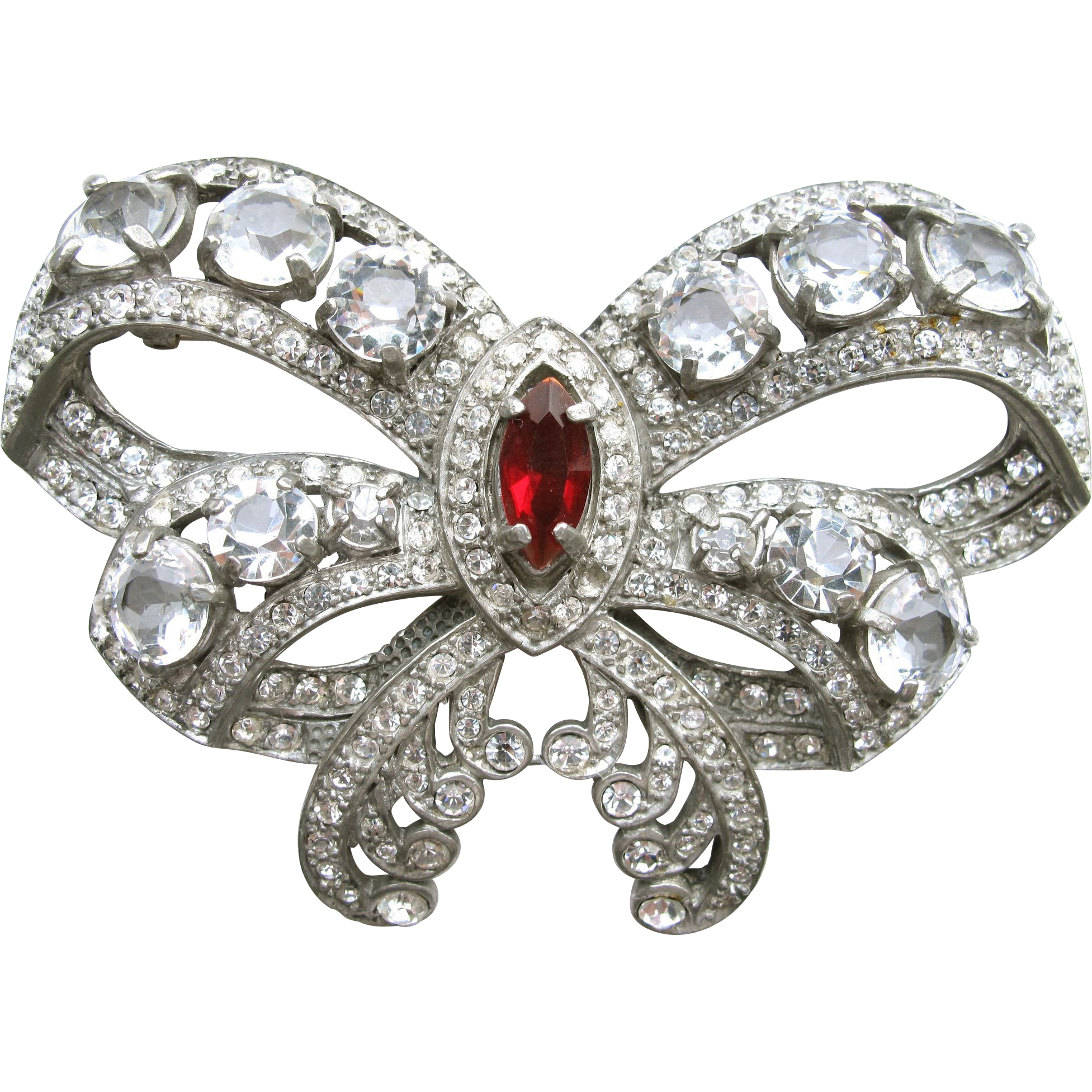 Huge Eisenberg Original Rhinestone Bow Pin Brooch 3in