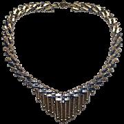 Jakob Bengel Blue Enamel Chrome Art Deco Necklace