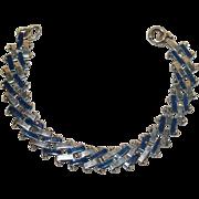 Jakob Bengel Blue Enamel and Chrome Art Deco Bracelet