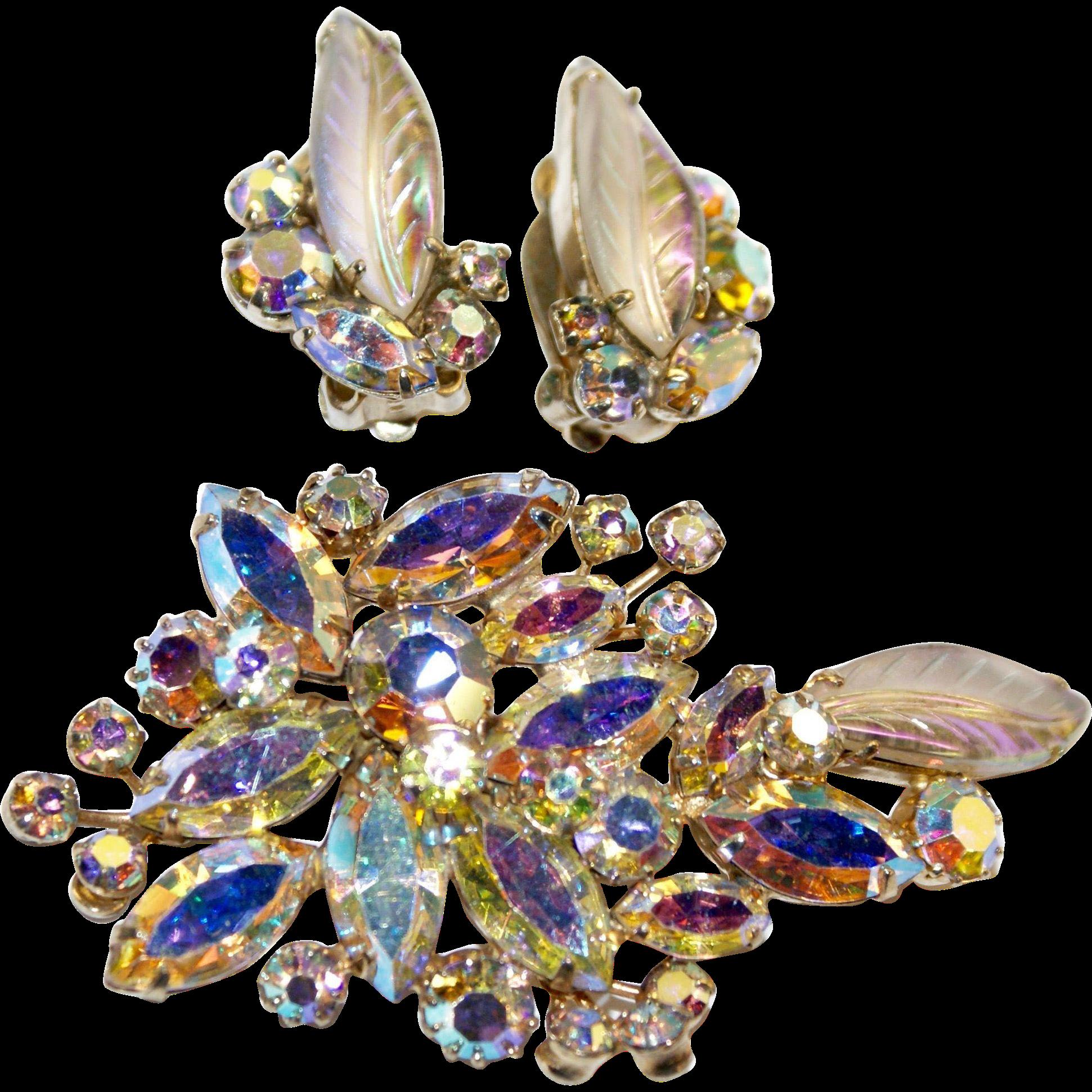 Rare Sherman Pink Aurora Art Glass Pin Earrings Set