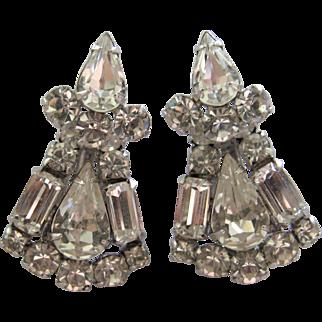 Sherman Art Deco Swarovski Rhinestone Earrings