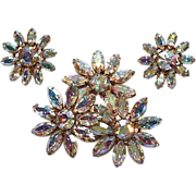 Vogue Huge Flower Aurora Borealis Rhinestone Pin Earrings