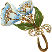 Blue Enamel Pot Metal Floral Pin Brooch