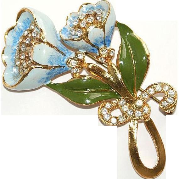 Blue Enamel Pot Metal Floral Pin Brooch