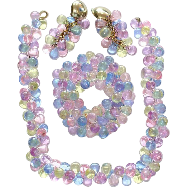 Pastel TearDrop Lucite Bracelet Necklace Earrings Set