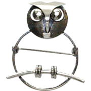 Beau Sterling Owl Modernist Pin Brooch