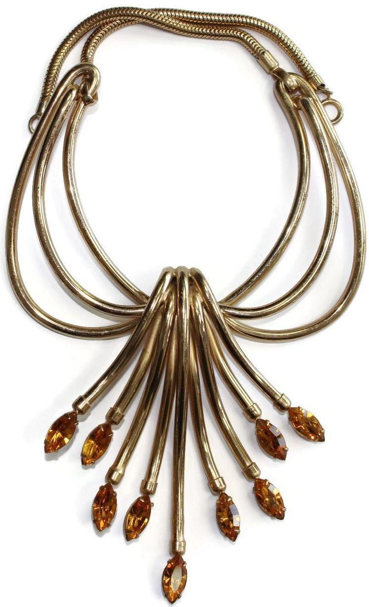 Napier Topaz Waterfall Necklace Very Dramatic From Fauxjewels On Ruby Lane