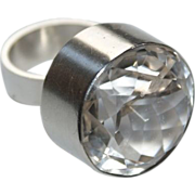 Rock Crystal Ring Niels Erik From Denmark Sterling Silver Huge