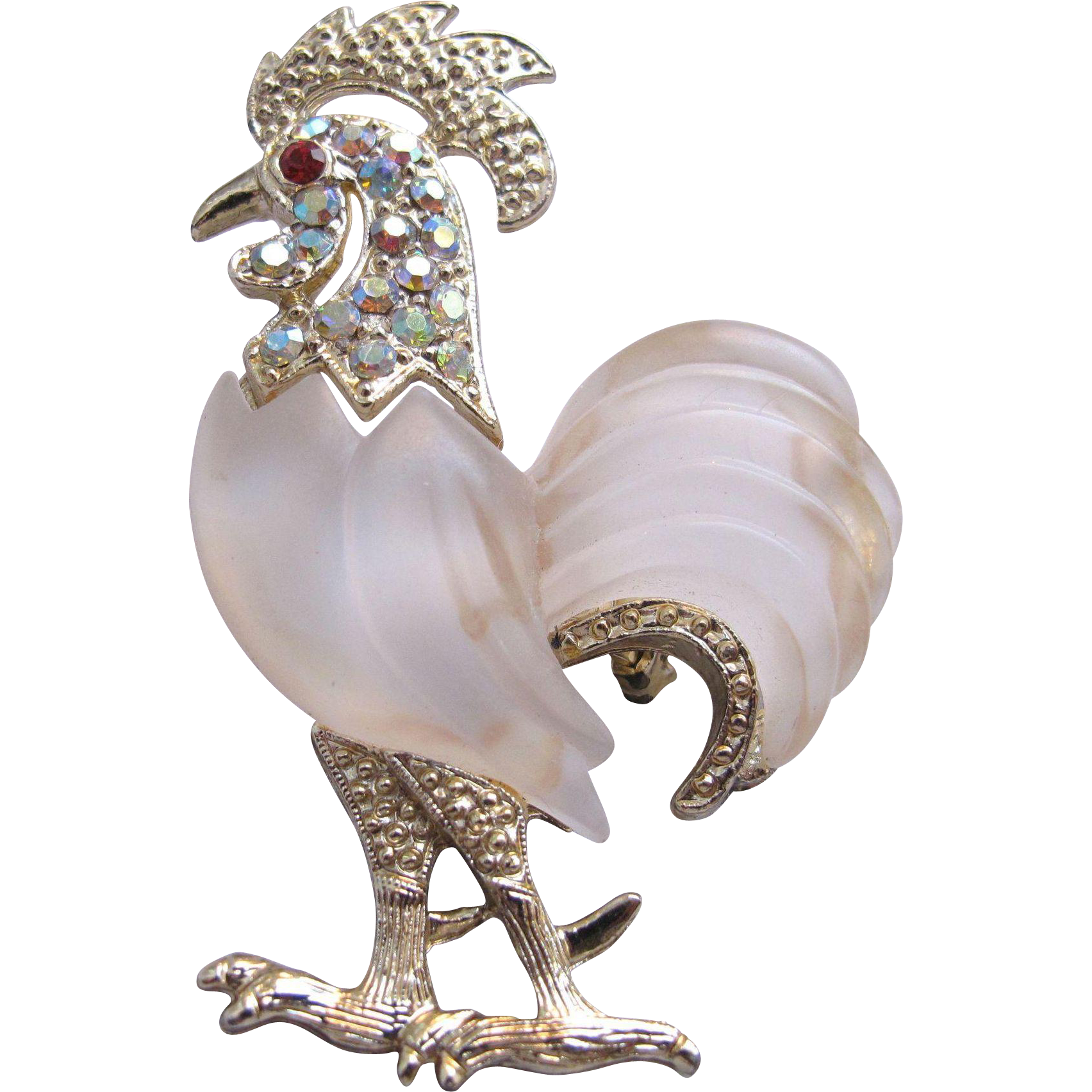 Rooster Frosted Belly Aurora Borealis Jewelled Figural Pin