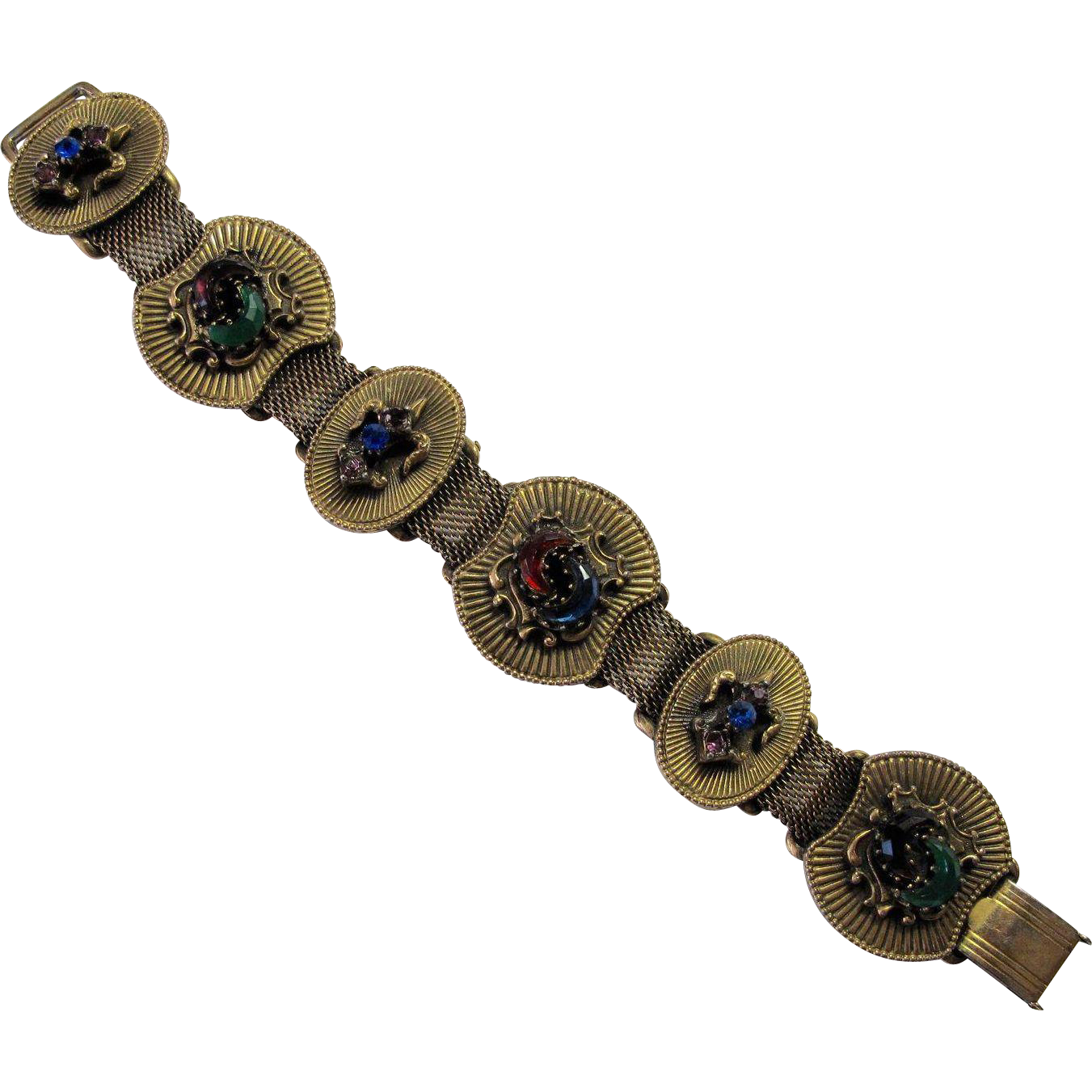 Victorian Revival Jewelled Slide Mesh Bracelet