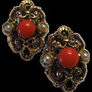 Faux Pearl Coral Filigree Austria Earrings