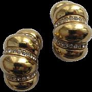 Ciner Gold Tone Rhinestone Earrings Chunky