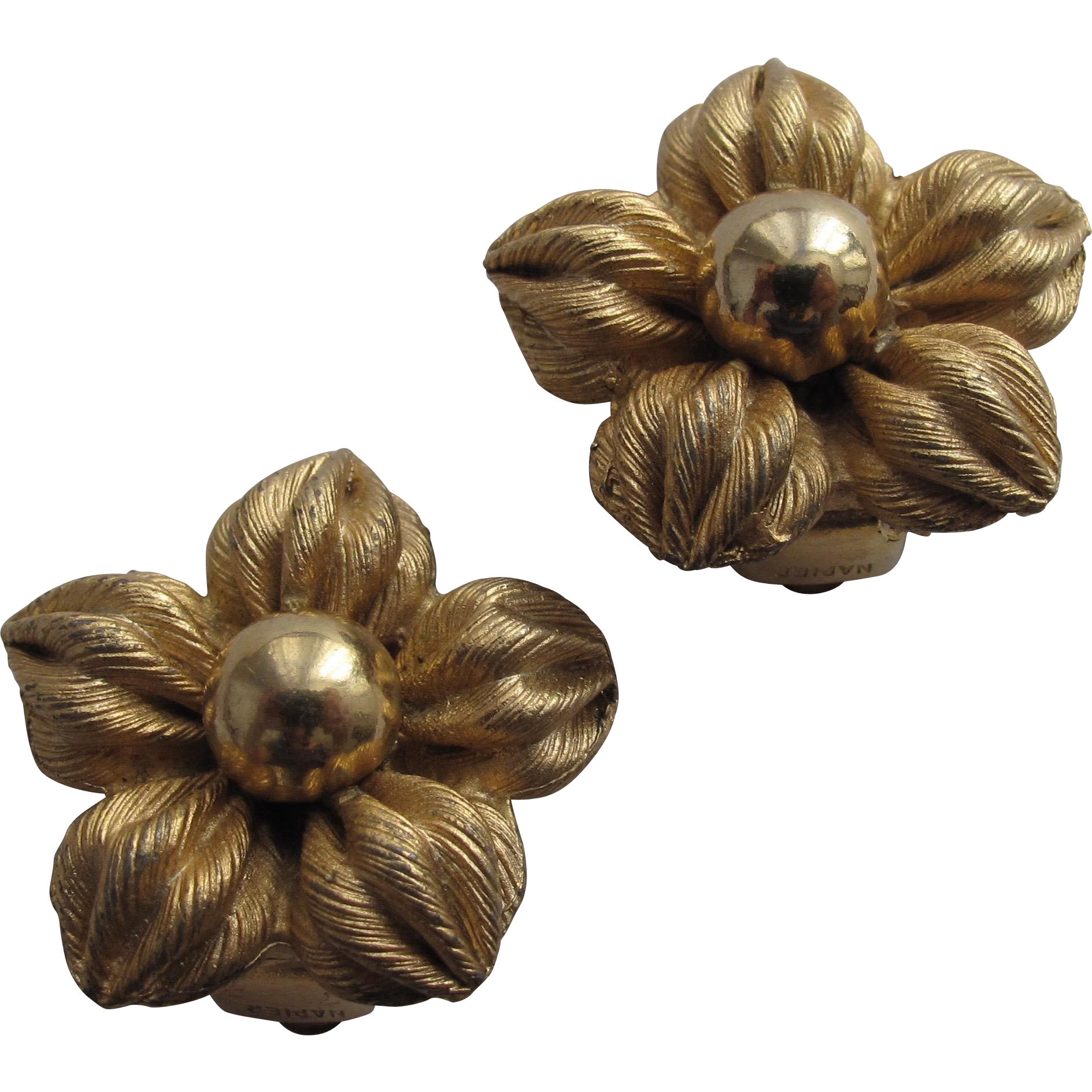 Napier Flower Earrings Gold Tone Chunky