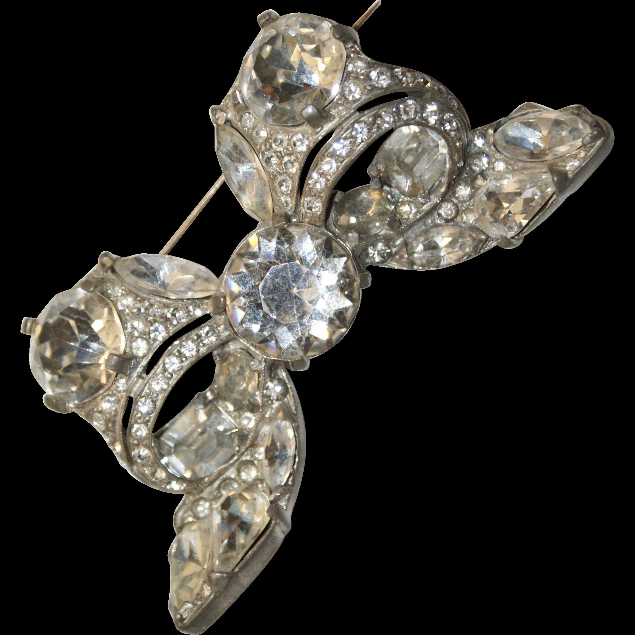 Sparkling Eisenberg Bow Book Piece Pot Metal Pin Brooch