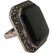 Huge Black Onyx Marcasite Sterling Ring