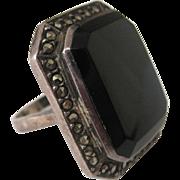 Huge Black Onyx Marcasite Sterling Ring