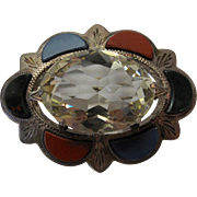 Scottish Cairngorm Pebble Agate Victorian Sterling Pin