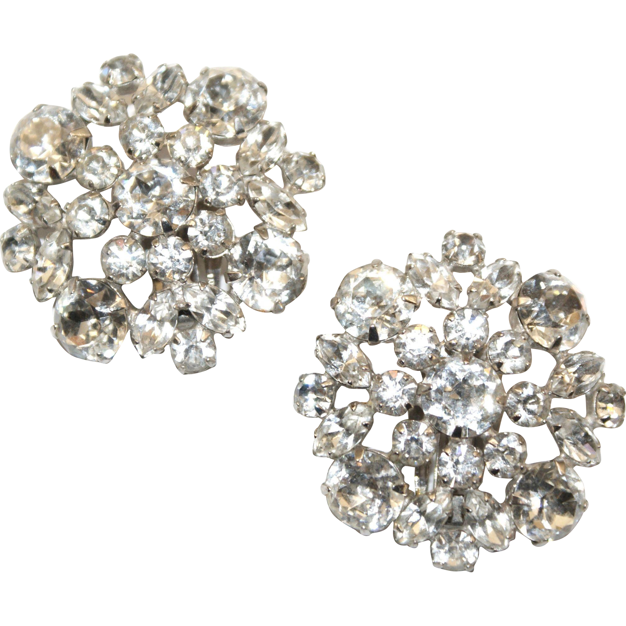 Huge Sherman Swarovski Crystal Earrings
