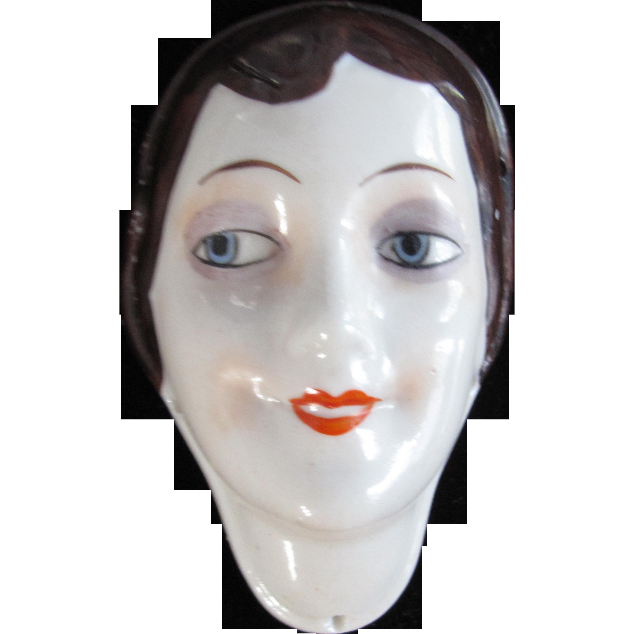 German Hankie Press Half Doll Face Book Piece