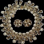Vendome Faux Pearl Aurora Borealis Crystal Fringe Necklace Earrings
