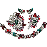 Mazer Floral Fruit Salad Rhinestone Enamel 4 pc Set 1930s