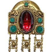 Czech Chatelaine Key Lamp Cup Pin Brooch 1940