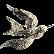 Rhinestone Bird in Flight Figural Pin Brooch Sparkly