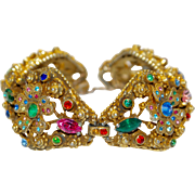 Ornate Coro Heavily Jewelled Floral Bracelet Pot Metal 30s