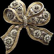 Trifari Jewelled Bow Rhinestone 2-tone Pin Elegant