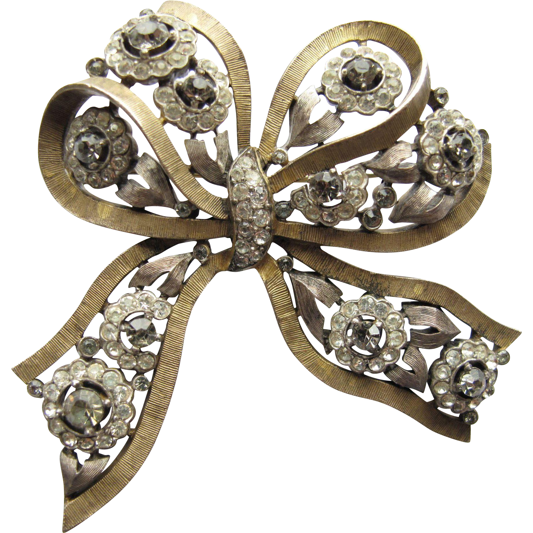 Trifari Jewelled Bow Rhinestone 2-tone Pin Elegant