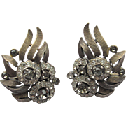 Trifari Jewelled Rhinestone Earrings 2-tone Elegant