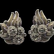 Trifari Jewelled Rhinestone Earrings 2-tone Elegant