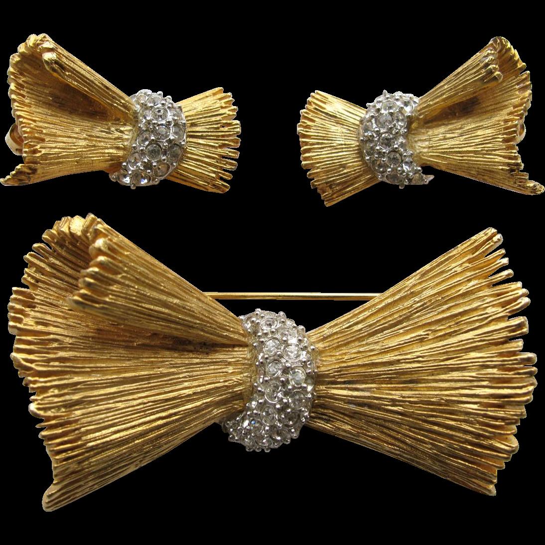 DeNicola Bow Demi Rhinestone Pin Earrings Set