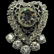 Rhinestone Drop Heart Pin Brooch