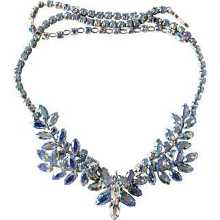 Blue Aurora Borealis Sherman Necklace