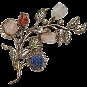 Huge Floral Semi Precious Stones Pin