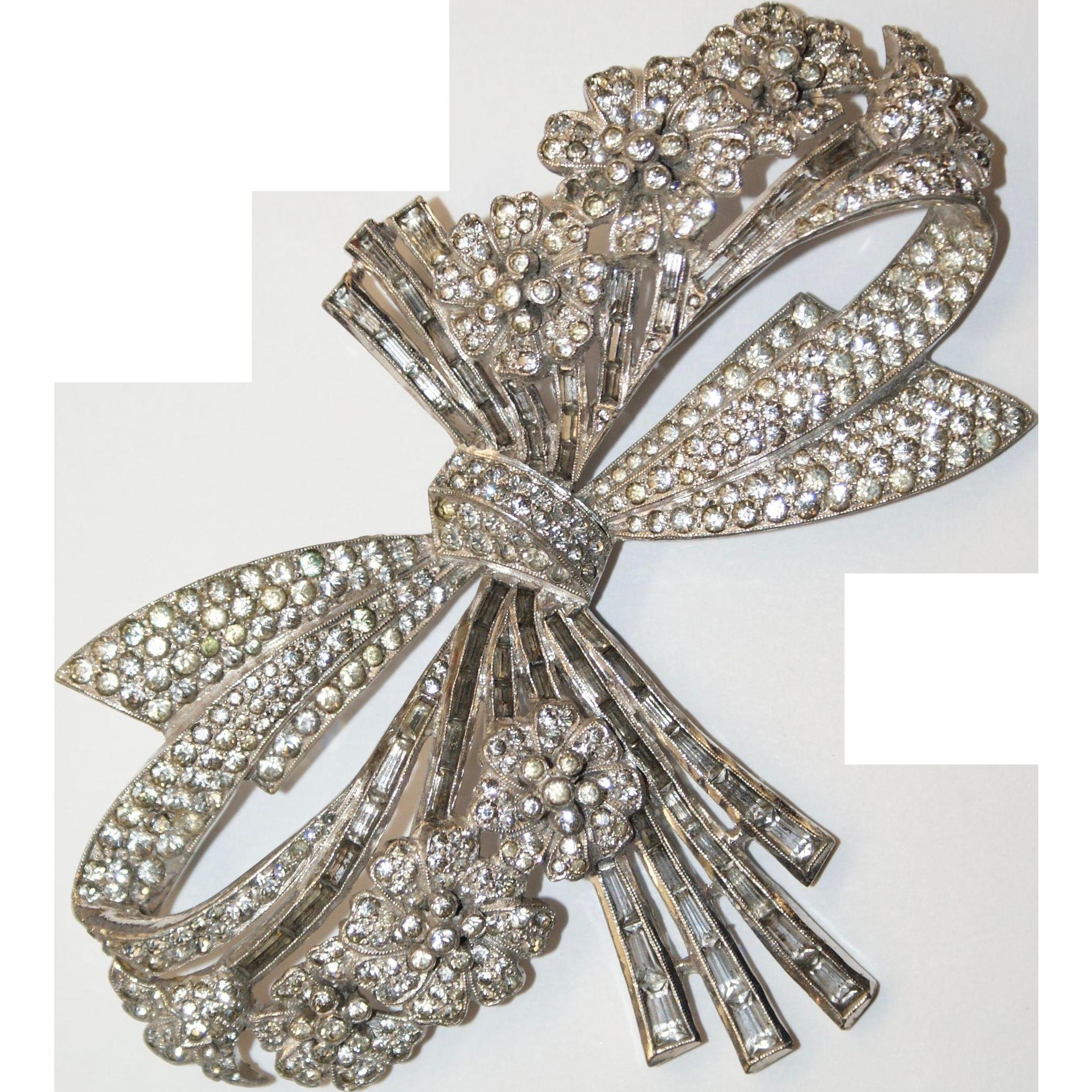 Large Real Look Ciro Rhinestone Bow Flower Pin Brooch 2 1/2in