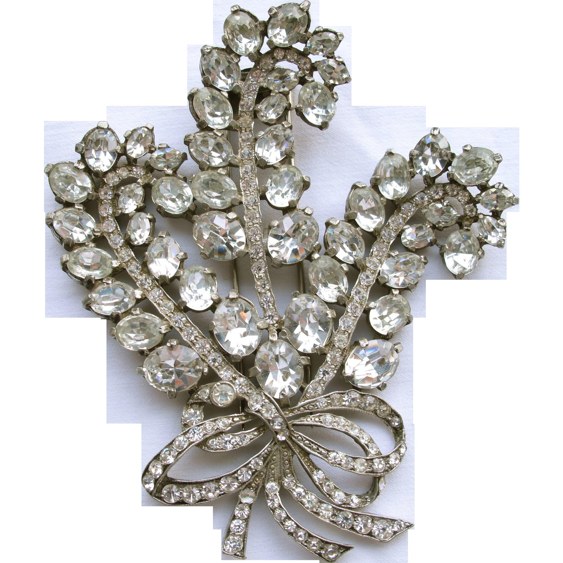 Eisenberg Original Tri Feather Rhinestone Pin Brooch 4in Bridal
