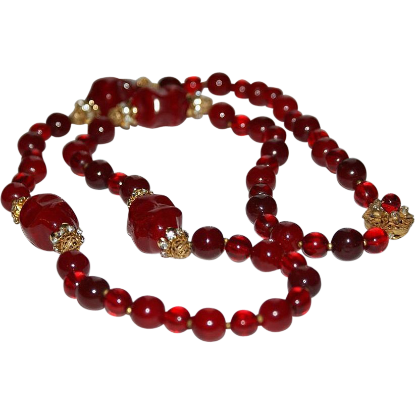 Red Poured Glass Rhinestone Haskell Necklace