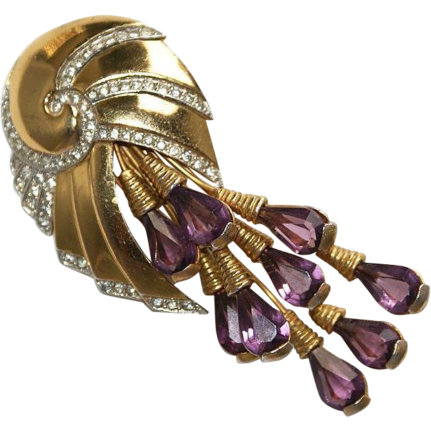 Retro Floral Purple Rhinestone Spray Pin