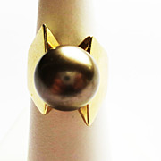 Cultured Pearl Ring in 14k Yellow Gold ~ circa early 1980's