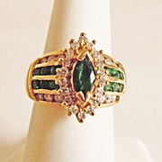 Diamond & Emerald Dinner Ring  in 14k YG ~ circa early 1990's