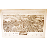 Saratoga Springs NY Lithograph  ~ circa 1888