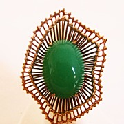 Large Green Onyx Ring Set in 14k Yellow Gold ~ mid-1950's